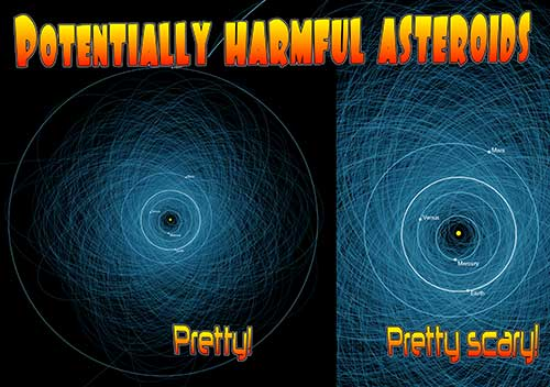 Cartoon: potentially harmful asteroids